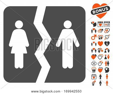 Divorce icon with bonus marriage pictures. Vector illustration style is flat iconic elements for web design app user interfaces.