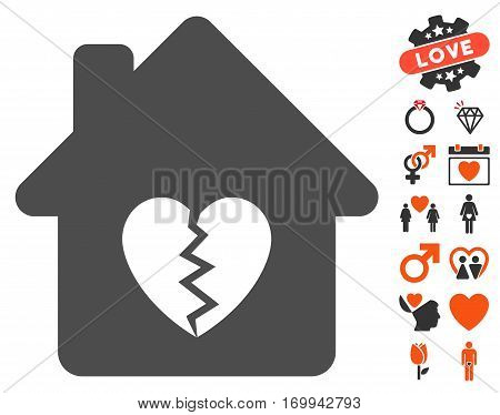 Divorce House Heart pictograph with bonus amour clip art. Vector illustration style is flat iconic elements for web design app user interfaces.
