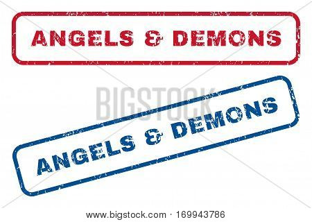 Angels and Demons text rubber seal stamp watermarks. Vector style is blue and red ink tag inside rounded rectangular shape. Grunge design and scratched texture. Blue and red signs.