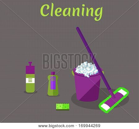 Tools for housekeeping: a violet bucket with soapy foam, MOP with handle and cloth, bottle of detergent with a cover, spray and green sponge. Vector illustration. Cleaning