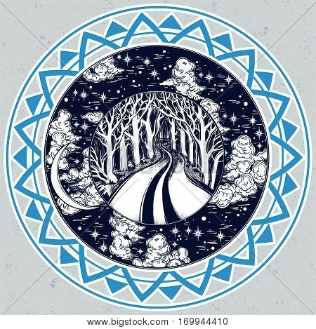 Empty road in the middle of the night through dark forest leading to horizon between trees in a round frame of clouds and stars. Emtpy road to nowhere concept, tattoo art. Isolated vector illustration
