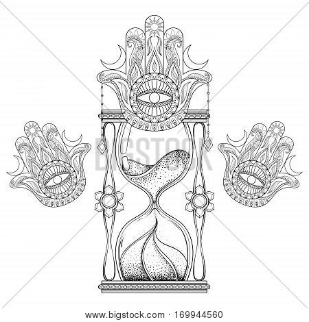 Vintage sand timer in dotwork tattoo design for alchemist t-shirt print, adult coloring book, pages. Hand drawn antique wizard hourglass with hamsa hand vector illustration.