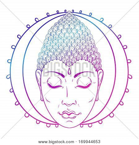 Vector color Portrait of Buddha for ornamental Buddhism tattoo art, ethnic patterned t-shirt print. Hand drawn religion illustration in doodle style.