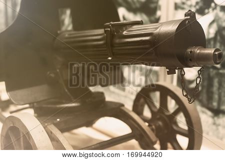 Old Machine Gun. Maxim Gun. First World War Machine Gun.