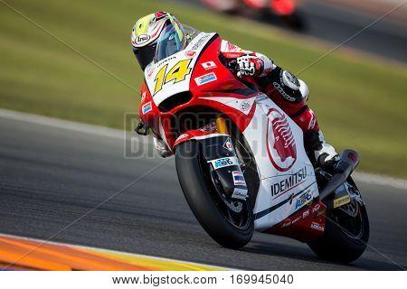 VALENCIA, SPAIN - NOV 12: Ratthapark Wilairot in Moto2 Qualifying during Motogp Grand Prix of the Comunidad Valencia on November 12, 2016 in Valencia, Spain.
