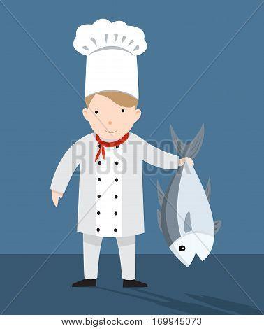 cute chef and fish vector illustration dining, uniform, man, skills, development, cartoon, handsome, pot, beverage, restaurant, occupation, tw