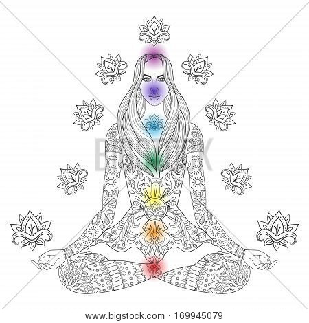 Girl sitting in lotus pose with chakras.  Vector ornate boho woman with lotus-flower for adult coloring pages, meditation, spiritual yoga symbol, gypsy soul, hand drawn ethnic motif.