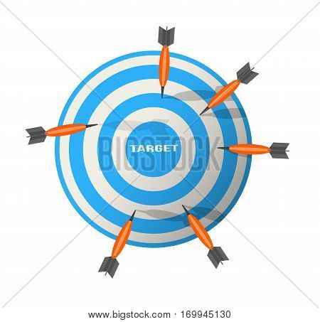 Darts Illustration Business target marketing concept working, logo, darts, game, cartoon, sport