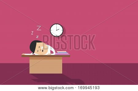 Employee asleep on desk vector illustration background