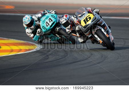 VALENCIA, SPAIN - NOV 12: 16 Clere, 44 Oliveira in Moto2 Qualifying during Motogp Grand Prix of the Comunidad Valencia on November 12, 2016 in Valencia, Spain.