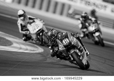 VALENCIA, SPAIN - NOV 12: 49 Axel Pons in Moto2 Qualifying during Motogp Grand Prix of the Comunidad Valencia on November 12, 2016 in Valencia, Spain.