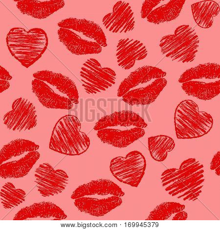 valentines background,  seamless pattern with the shape of heart and mouth