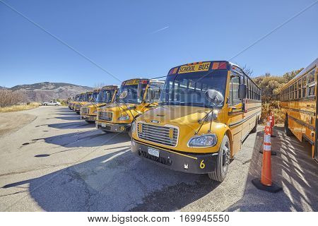 Aspen, Usa - November 20, 2016: School Buses Parked On The Outskirts Of The City.