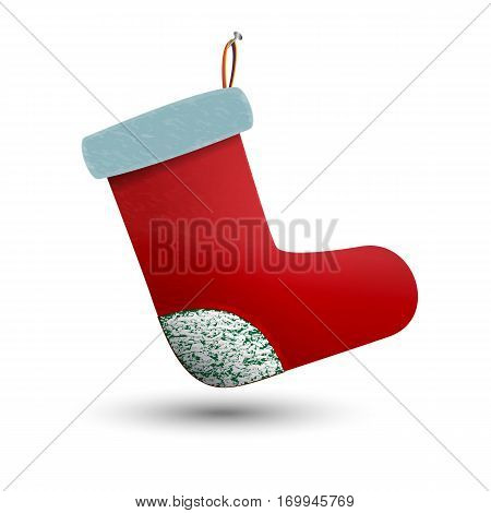 Hung on a nail festive Christmas gift sock. Warm winter felt boot. Shoes with fur. Beautiful red boots.