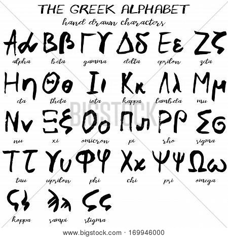 Hand drawn greek alphabet written grunge font with black symbols of capital and lowercase letters on white background. Vector illustration