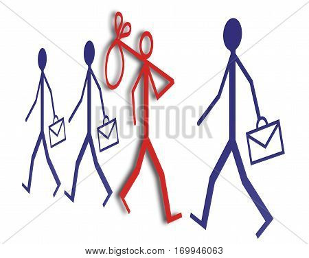 Employment and unemployment: out of work job search - concept image on white background