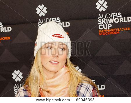 STOCKHOLM SWEDEN - JAN 30 2017: Mikaela Shiffrin interviewed at a press conference before the parallel slalom Audi FIS Ski World Cup. January 30 2017 Stockholm Sweden