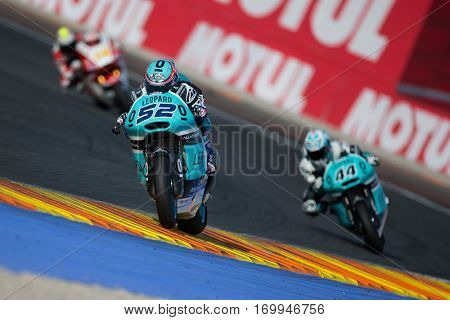 VALENCIA, SPAIN - NOV 12: 52 Kent, 44 Oliveira in Moto2 Qualifying during Motogp Grand Prix of the Comunidad Valencia on November 12, 2016 in Valencia, Spain.