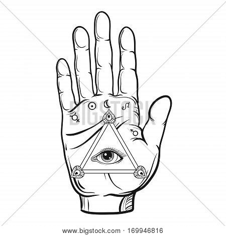 Vector fortune teller hand sketch with hand drawn all seeing eye. Vector vintage illustration for tattoo template, magic alchemy symbol.