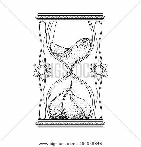 Vintage antique wizard hourglass in dotwork tattoo design for alchemist t-shirt print, adult coloring book, pages. Hand drawn sand timer vector illustration, monochrome sketch.