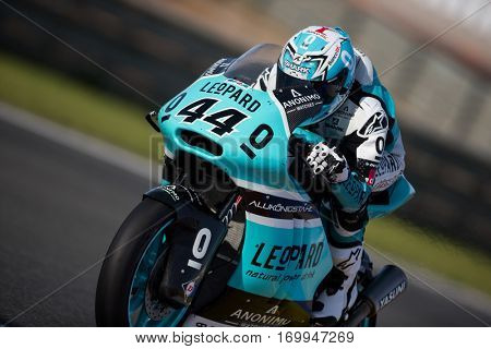 VALENCIA, SPAIN - NOV 12: Miguel Oliveira in Moto2 Qualifying during Motogp Grand Prix of the Comunidad Valencia on November 12, 2016 in Valencia, Spain.