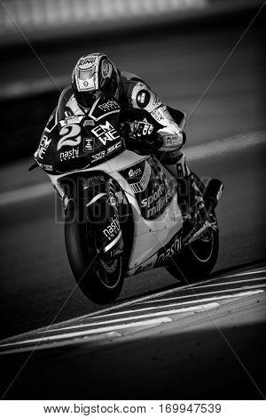 VALENCIA, SPAIN - NOV 12: Jesko Raffin in Moto2 Qualifying during Motogp Grand Prix of the Comunidad Valencia on November 12, 2016 in Valencia, Spain.