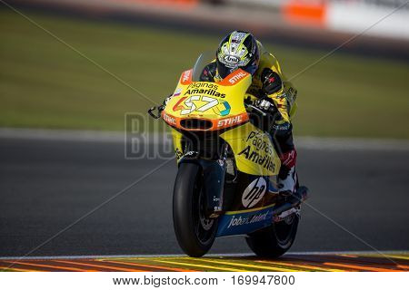 VALENCIA, SPAIN - NOV 12: Edgar Pons in Moto2 Qualifying during Motogp Grand Prix of the Comunidad Valencia on November 12, 2016 in Valencia, Spain.