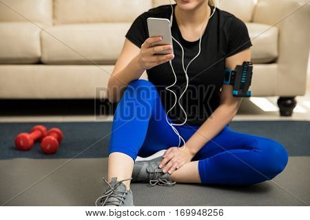 Woman Working Out With Some Music