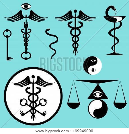 Black and white set caduceus. Kit of snake spiral wings keys yin-yang scales eye rod bowl icons. Vector illustration.