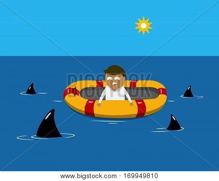 Man on a lifeboat in the sea with sharks around his boat