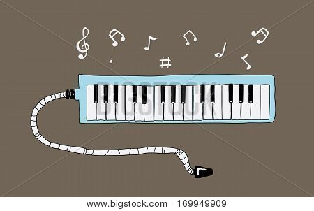 Melodion Illustration cute vector, song, piano, melodious, blowing, instrument, band, wind, retro, old-fashioned, musical,