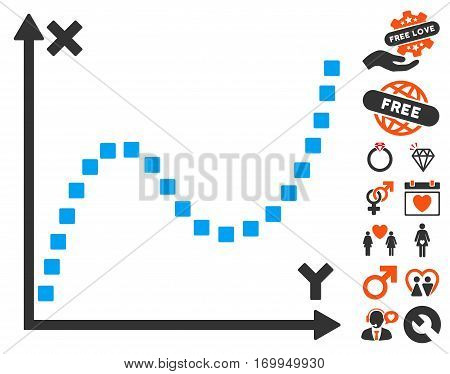 Dotted Plot pictograph with bonus lovely graphic icons. Vector illustration style is flat iconic elements for web design app user interfaces.