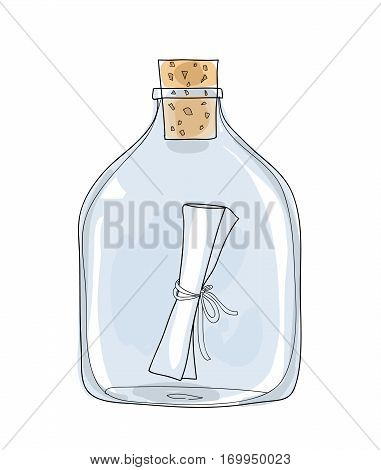 Message In A Bottle Hand Drawn Vector Cute Illustration 1