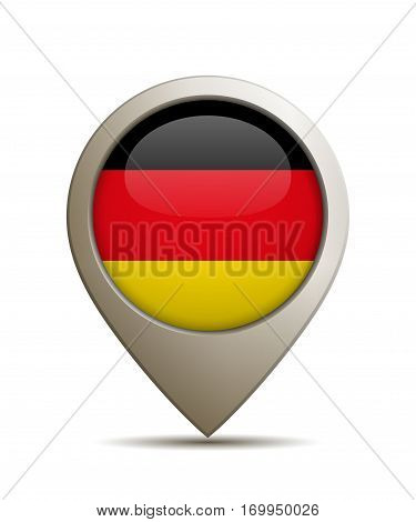 Vector Illustration Of A Straight Location Pin With German Flag