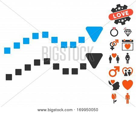 Dotted Trend Lines icon with bonus amour images. Vector illustration style is flat iconic symbols for web design app user interfaces.