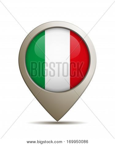 Vector Illustration Of A Straight Location Pin With Italian National Flag