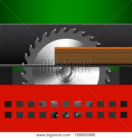 Illustration of woodworking machine. Circular saw with a red protection. Circular saw with a board. Icon carpentry equipment.