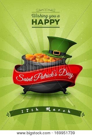 Illustration of a happy st. patrick's day background with wishes text and banner big cauldron green pilgrim hat golden coins and retro vintage style
