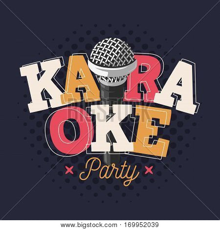 Karaoke Label Sign Design With Microphone Illustration On A Halftone Background. Vector Image.