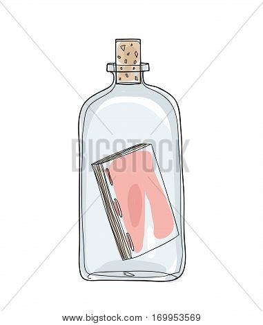 Message In A Bottle Hand Drawn Vector Cute Illustration 5