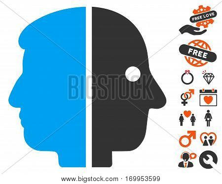 Dual Face pictograph with bonus dating clip art. Vector illustration style is flat iconic symbols for web design app user interfaces.