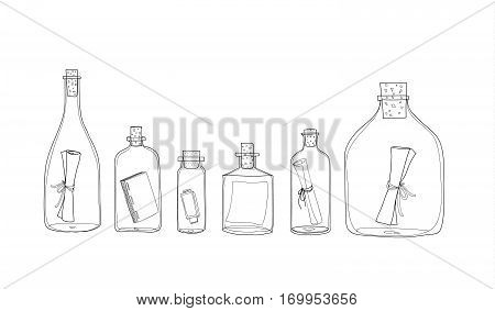 Message In A Bottle Hand Drawn Vector Set Line Art Illustration