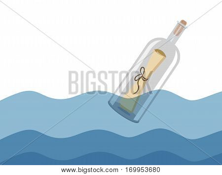Message in a Bottle vector illustration, space, seashell, nature, message, idyllic, tranquil, vector, illustration, art