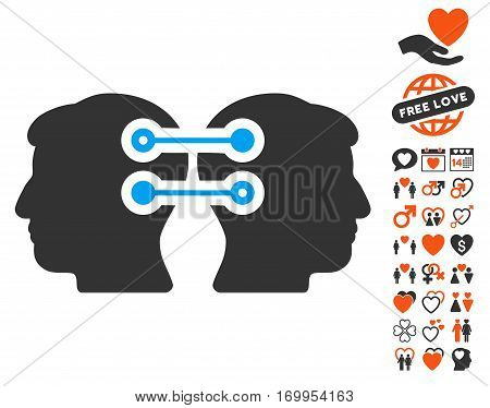 Dual Heads Interface Connection icon with bonus romantic pictures. Vector illustration style is flat iconic elements for web design app user interfaces.