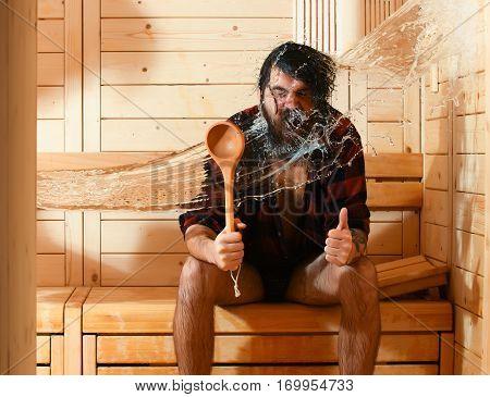 Excited Man Wet In Sauna