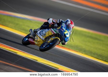 VALENCIA, SPAIN - NOV 11: Lorenzo Petrarca during Moto3 practice in Motogp Grand Prix of the Comunidad Valencia on November 11, 2016 in Valencia, Spain.