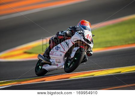VALENCIA, SPAIN - NOV 11: Brad Binder during Moto3 practice in Motogp Grand Prix of the Comunidad Valencia on November 11, 2016 in Valencia, Spain.
