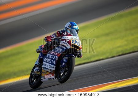VALENCIA, SPAIN - NOV 11: Jules Danilo during Moto3 practice in Motogp Grand Prix of the Comunidad Valencia on November 11, 2016 in Valencia, Spain.
