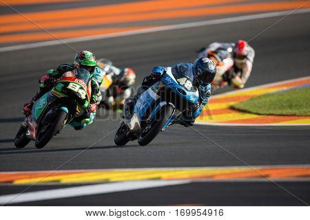 VALENCIA, SPAIN - NOV 11: 48 Dalla, 84 Kornfeil during Moto3 practice in Motogp Grand Prix of the Comunidad Valencia on November 11, 2016 in Valencia, Spain.