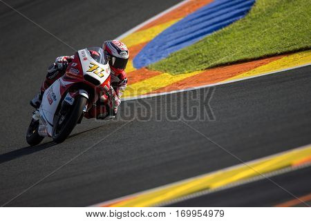VALENCIA, SPAIN - NOV 11: Hiroki Ono during Moto3 practice in Motogp Grand Prix of the Comunidad Valencia on November 11, 2016 in Valencia, Spain.